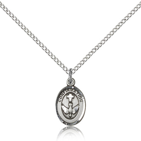 Sterling Silver 1/2in Confirmation Medal & 18in Chain