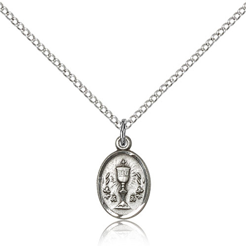 Sterling Silver 1/2in Chalice Medal & 18in Chain