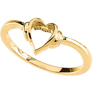 14kt Yellow Gold Open Heart Promise Ring