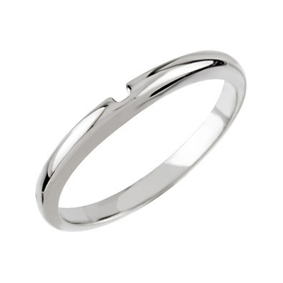 14kt White Gold Wedding Band for Solitaire No. 3