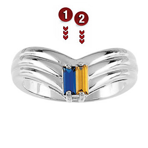 Elegant Point Sterling Silver Mother's Ring