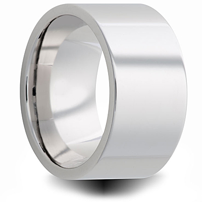 Cobalt 10mm Polished Pipe Cut Wedding Band