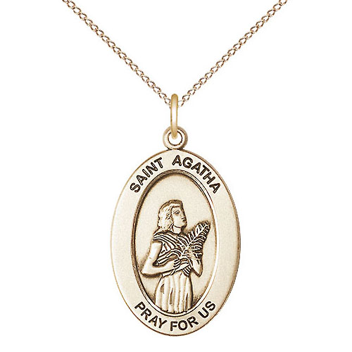 Gold Filled 7/8in St Agatha Medal with 18in Chain