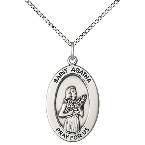 Sterling Silver 7/8in St Agatha Medal with 18in Chain