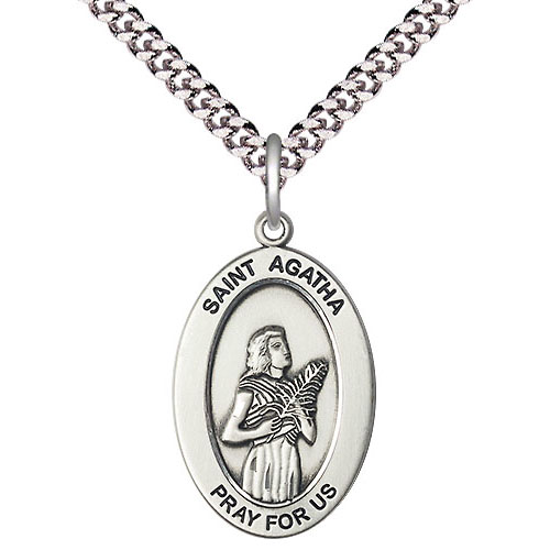 Sterling Silver 7/8in St Agatha Medal with 24in Chain