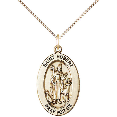 Gold Filled 7/8in St Hubert Medal with 18in Chain