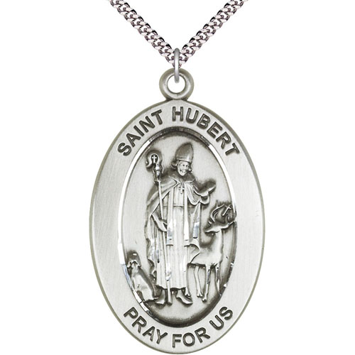 Sterling Silver 7/8in St Hubert Medal with 24in Chain
