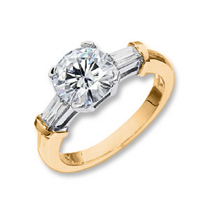 2.47 CT TW 14KW Moissanite Cushion Cut Ring
