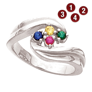 Embracing Arms Sterling Silver Mother's Ring