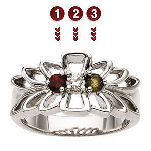 Angel's Wings Sterling Silver Mother's Ring