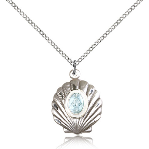 Sterling Silver 3/4in Seashell Miraculous Medal & 18in Chain