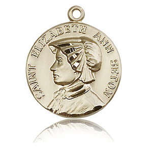 14kt Yellow Gold 3/4in St Elizabeth Medal