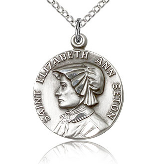 Sterling Silver 3/4in St Elizabeth Medal & 18in Chain