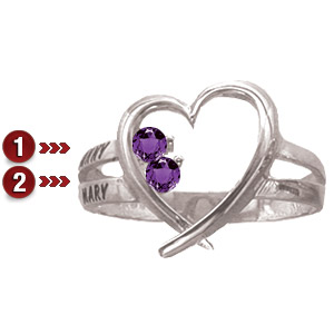 Sterling Silver Family Heart Ring