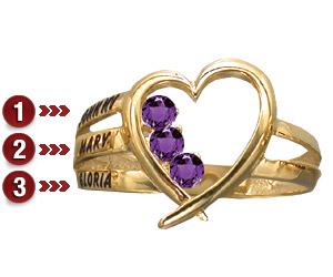 Family Heart Ring