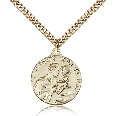 Gold Filled 7/8in St Anthony Medal & 24in Chain