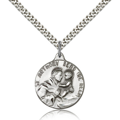 Sterling Silver 7/8in St Anthony Send Me Help Medal & 24in Chain