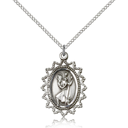 Sterling Silver 1in Beaded St Christopher Medal & 18in Chain
