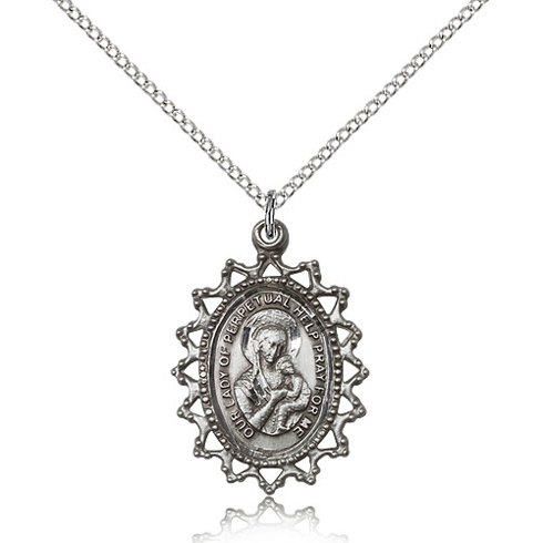 Sterling Silver 1in Lady of Perpetual Help Medal & 18in Chain