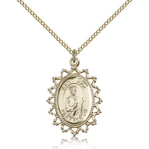 Gold Filled 3/4in St Jude Medal & 18in Chain