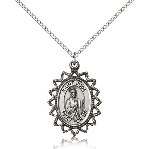Sterling Silver 1in St Jude Medal with Fancy Edges & 18in Chain
