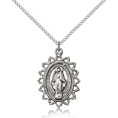 Sterling Silver 1in Miraculous Medal & 18in Chain