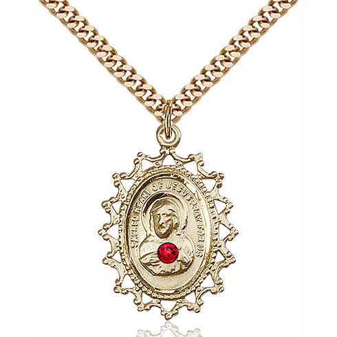 Gold Filled 1in Scapular Pendant with 3mm Ruby Bead & 18in Chain