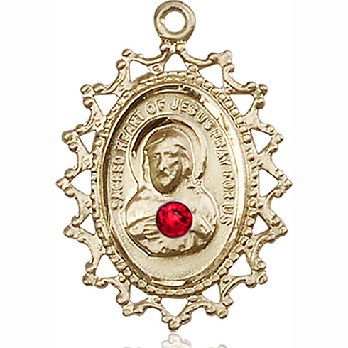 14kt Yellow Gold 1in Scapular Medal with 3mm Ruby Bead