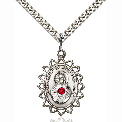 Sterling Silver 1in Scapular Pendant with 3mm Ruby Bead & 18in Chain