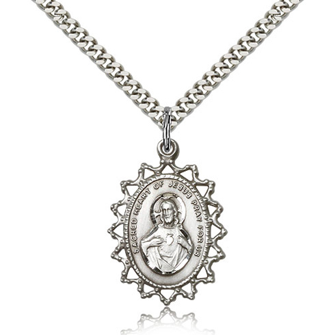 Sterling Silver 1in Sacred Heart of Jesus Medal & 24in Chain