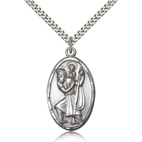 Sterling Silver 1 3/8in Oval St Christopher Medal & 24in Chain