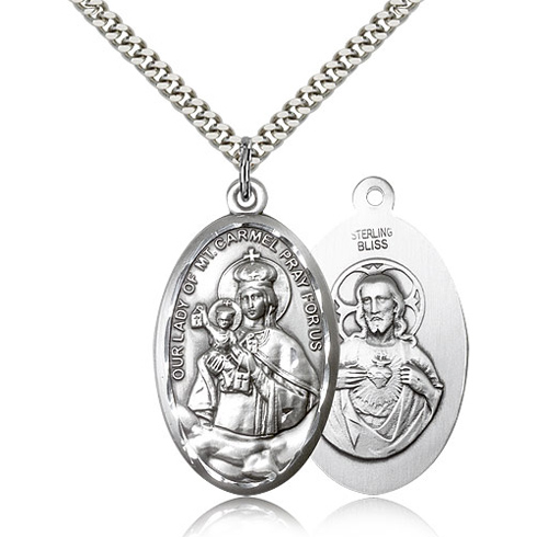 Sterling Silver 1 3/8in Our Lady of Mount Carmel & 24in Chain