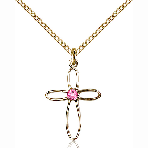 Gold Filled 3/4in Loop Cross Pendant with 3mm Rose Bead & 18in Chain
