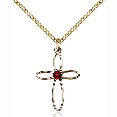 Gold Filled 3/4in Loop Cross Pendant with 3mm Garnet Bead & 18in Chain