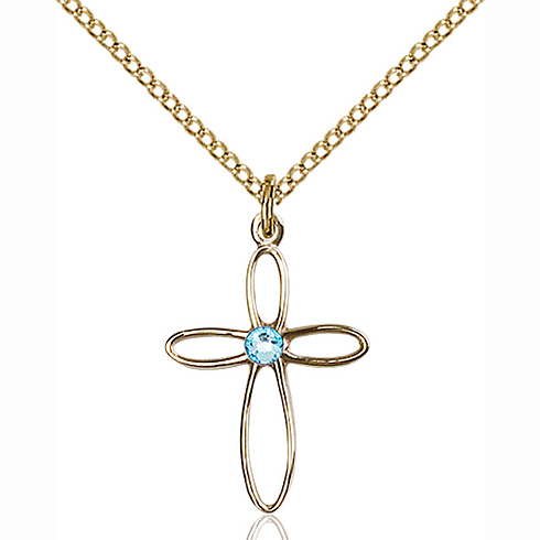 Gold Filled 3/4in Loop Cross Pendant with 3mm Aqua Bead & 18in Chain