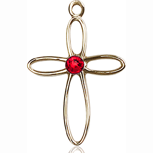14kt Yellow Gold 7/8in Loop Cross Pendant with 3mm Ruby Bead