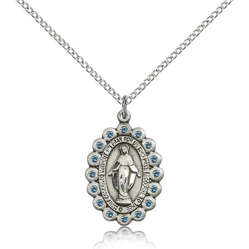 Sterling Silver 7/8in Miraculous Medal with Aquamarine Swarovski Crystals & 18in Chain