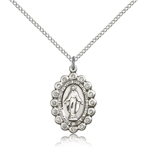 Sterling Silver 7/8in Miraculous Medal with Swarovski Crystals & 18in Chain