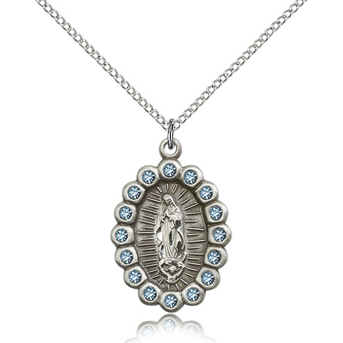 Sterling Silver 7/8in Our Lady of Guadalupe with Aquamarine Swarovski Crystals & 18in Chain