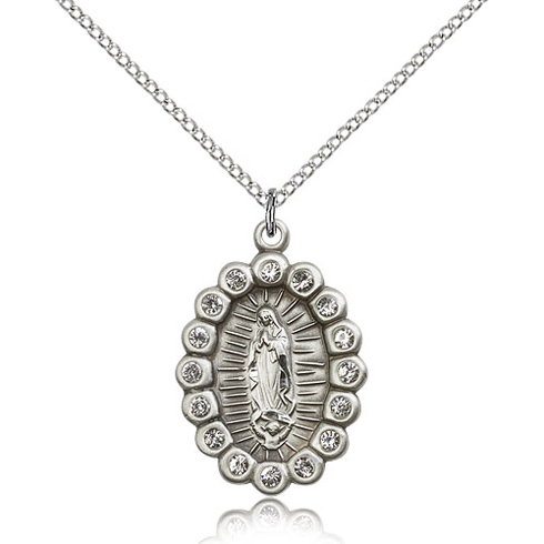 Sterling Silver 7/8in Our Lady of Guadalupe with Swarovski Crystals & 18in Chain