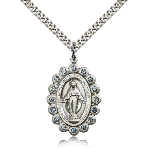 Sterling Silver 1 1/8in Miraculous Medal with Aquamarine Swarovski Crystals & 24in Chain