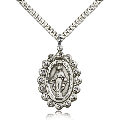 Sterling Silver 1 1/8in Miraculous Medal with Swarovski Crystals & 24in Chain