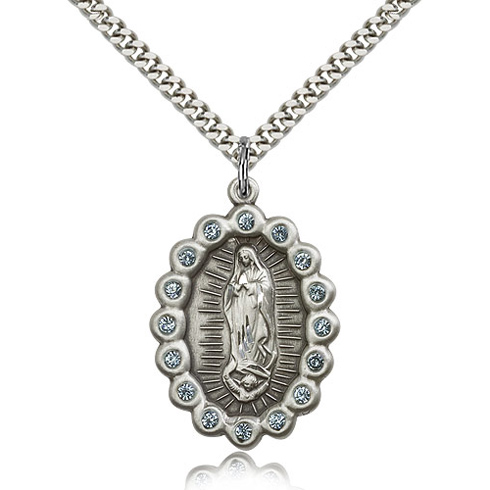 Sterling Silver 1/8in Our Lady of Guadalupe with Aquamarine Swarovski Crystals & 24in Chain