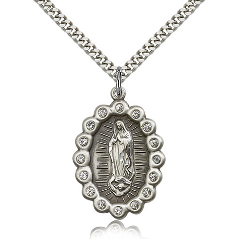 Sterling Silver 1 1/8in Lady of Guadalupe Medal Crystals & 24in Chain