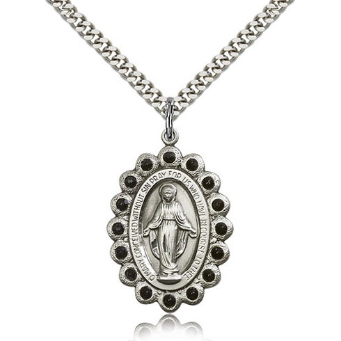 Sterling Silver 1 1/8in Miraculous Medal with Jet Black Swarovski Crystals & 24in Chain