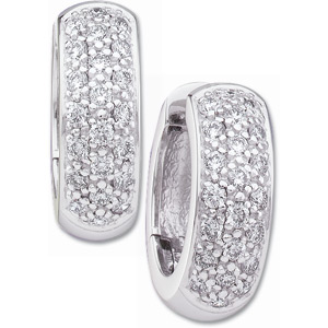 14kt White Gold 7/8 ct Diamond Hinged Hoop Earrings