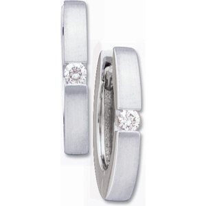 14kt White Gold Hinged Earrings with .07 ct tw Diamond Accents