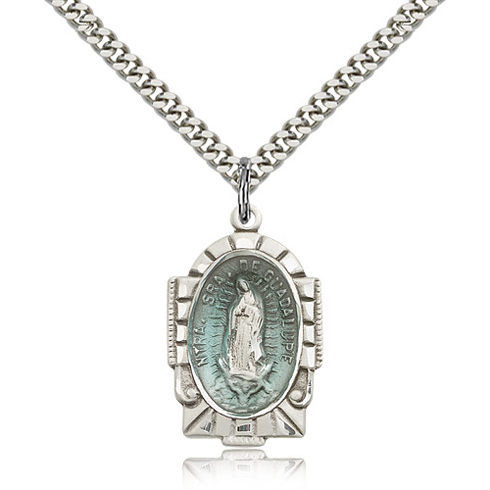 Sterling Silver 1in Blue Our Lady of Guadalupe Medal & 24in Chain