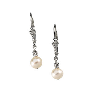 6 mm Cultured Pearl Lever Back Earrings