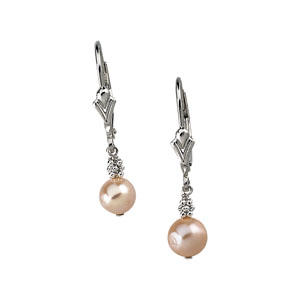 Sterling Silver 6mm Pink Pearl Lever Back Earrings